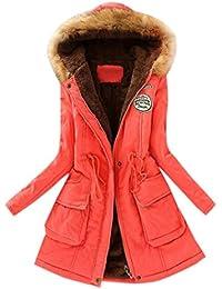Frauen Strickjacke VENMO Damen Warme Jacke Langer Mantel Pelzkragen  Kapuzenjacke Schlanke Mäntel Parka Baumwolle Outwear… 133b8ecf9b