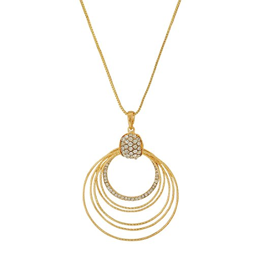 Maayra Stone Crystals Pendant Gold Cocktail Party Jewellery - Darling, Rhodium Plated, Brass based  available at amazon for Rs.370