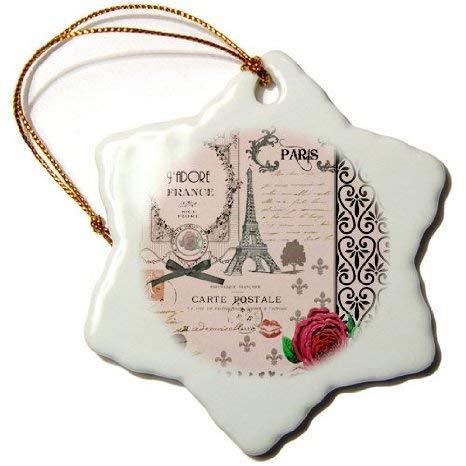 Aersing Weihnachts-Schneeflocken-Ornament, stilvoll, Vintage, Pink/Paris, Collage, Eiffelturm, rote Rose, Girly Gothic, Schwarze Schleife, Weihnachtsbaumschmuck -