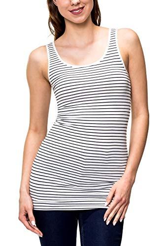 ONLY Damen Tank Top Basic Shirt Stretch O-Neck Print Longtop 15159176 Liva (XL, Cloud Dancer/Night Sky Stripes) -
