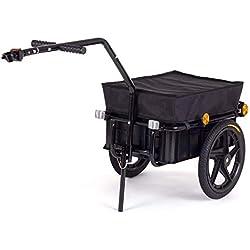 SAMAX Transportanhänger Fahrradanhänger Lastenanhänger Fahrrad Anhänger Handwagen mit Kunststoffwanne für 60 Kg / 70 Liter in Schwarz