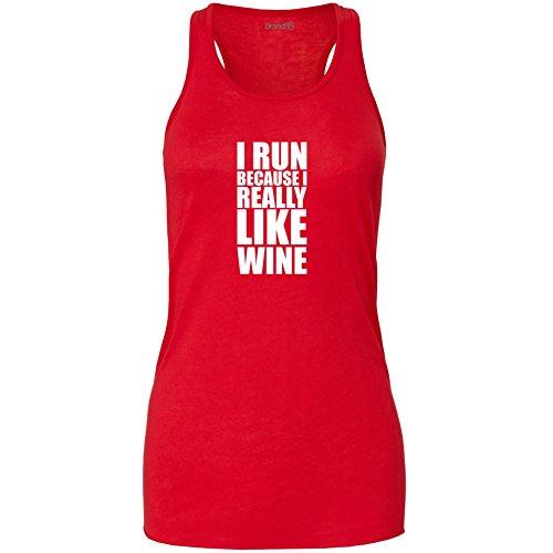 Preisvergleich Produktbild I Run Because I Really Like Wine,  Damen Flowy Racer Tank Top - Rot M ( UK Größe 12 )