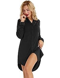 Zexxxy Nachthemd Damen Knopfleiste Langarm Baumwolle Kurz Sommer Nachtkleider Schlafanzugoberteile