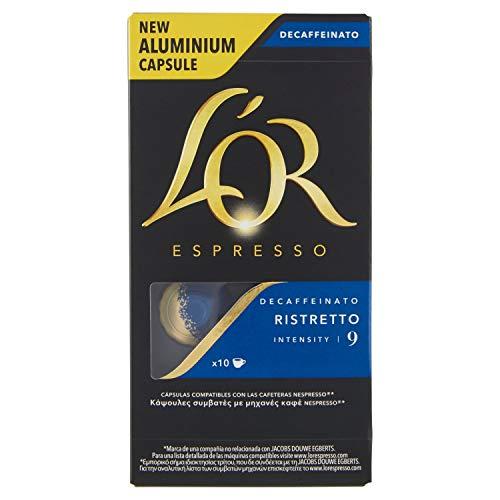 L'or - capsule caffè espresso decaffeinato ristretto - compatibili con macchine nespresso - 50 capsule in alluminio - intensità 9
