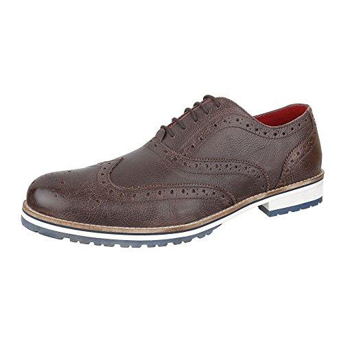 Budapester Stil Leder Herren-Schuhe Oxford Blockabsatz Moderne Schnürsenkel Ital-Design Business-Schuhe Braun, Gr 47, 220910-