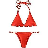 bcdabcd297 Rosegal Women's Knitted Swimsuit Solid Color Crochet Halter Shell Bikini Set