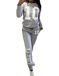 Inlefen Survêtement Femme Ensemble de Sports Doux Confortable Manches Longues Pantalon 2 Pièce Vêtements Set Sport Sweat Pantalons Fitness Yoga Costumes