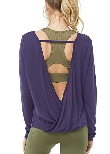 Muzniuer Damen Langarm Open Back Shirts Lose Rückenfrei Yoga Shirts Thumbhole Shirts