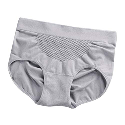 IPOTCH Damen Höschen Hohe Taille Hipster Baumwolle Frauen Unterwäsche Volle Slips Einfarbig Unterhose Bauchsteuer Höschen - Grau, Einheitsgröße - 3