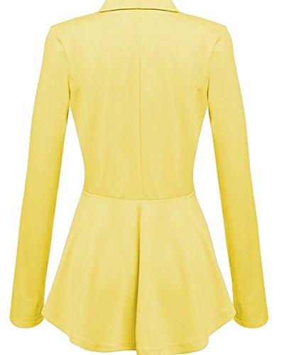Donne Slim Fit Elegante Ufficio Business Giacca Tuta Blazer Top Camicetta Outwear Maglietta Giallo