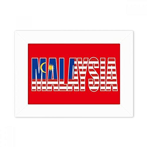 DIYthinker Malaysia Land Flagge Name Desktop-Foto-Rahmen-Weiß-Bild-Kunst-Malerei Passt 10.2 x 15.2cm (4 x 6 Zoll) Bild Mehrfarbig