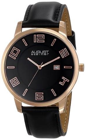 August Steiner Hommes de slim Swiss Quartz Rose-Tone Montre en acier inoxydable Bracelet en cuir noir