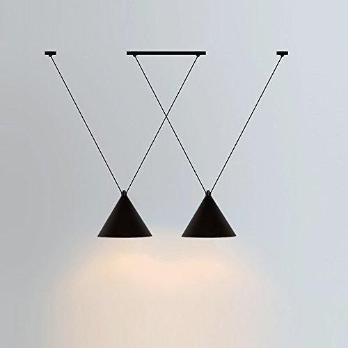 Creative cross hanging line decoration lampada a sospensione in ferro nero nordic cucina moderna soggiorno sala da pranzo camera da letto ristorante 2 tester e27 lampadario geometrico ad alta luminosità
