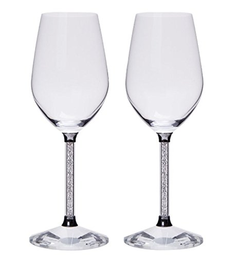 hcaa copas de vino con cristales de Swarovski en tallo Set de 2regal