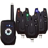 Mounchain. Sistema de alarma de mordida de anzuelo para pesca de carpas, 4 piezas sin cables (3 emisores y un receptor), resistentes al agua