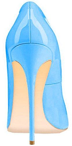ELEHOT Femme 12cm Taille EU 34-46 Toyque Aiguille 12CM Synthétique Escarpins bleu Sky