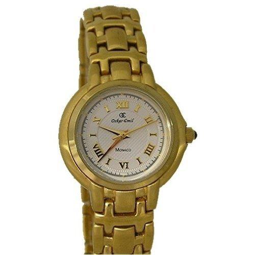Oskar Emil monaco mop - Reloj analógico de cuarzo para mujer con correa de acero inoxidable, color dorado