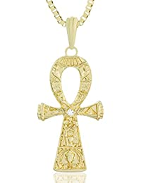 MESE London Collar Cruz Anseada Ankh Colgante Egipcio Oro - Elegante Caja De Regalo