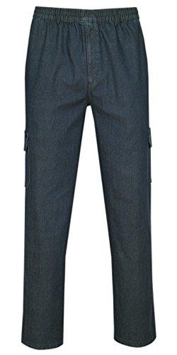 T-MODE Herren Jeans Stretch Schlupfhose Schlupfjeans Gummizughosen Sommer Kollektion-Dunkelblau-XL