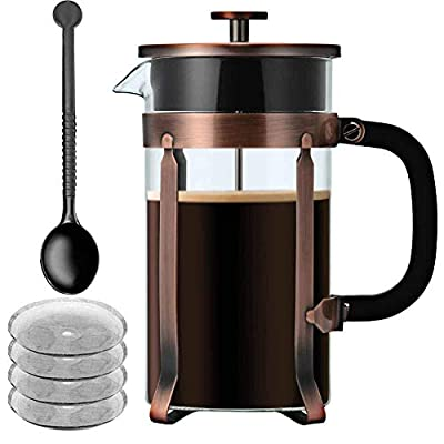 French Press,Blufied 34 Oz French Press Coffee Maker with 4 Filters 4 Level Filtration System 304 Grade Stainless Steel 8 Cup Cafetières Espresso Coffee Press-1000ML by BluFied