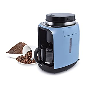 ecHome 2 in 1 Grind and Brew Filter Coffee Maker Machine with Insulated Glass Jug 0.6L 6 Cups Blue