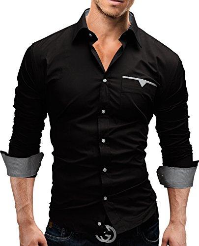 Merish Hemd Herrenhemd Freizeithemd Businesshemd Slim Fit 4 Farben Größen S-XXL Herren Modell 58 Schwarz