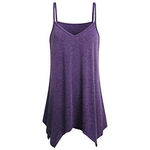 BHYDRY Oberteile Hemd Damen Unregelmäßiger Rand Sommer Lose V-Ausschnitt Strap Cami Tank Tops Weste Bluse(XX-Large,Lila) Bowling-jersey