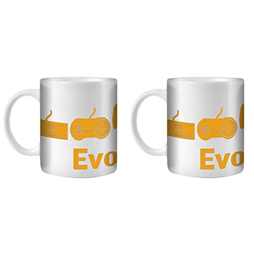 STUFF4 Tasse de Café/Thé 350ml/2 Pack Orange/Jeux Évolution Manette/Céramique Blanche/ST10