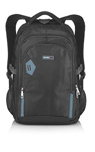 Rucksack für Herren und Damen von Camden Gear. Schulrucksack – Laptoprucksack für die Schule – Laptop – Wandern. Wasserdicht, Top mit mehreren Fächern. Schwarz und Grau - 9