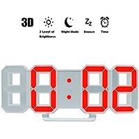 Reloj LED multifuncional Digital LED Wall Alarm Clock Reloj despertador (Indicador de hora con alarma y snooze Function Luminance ajustable