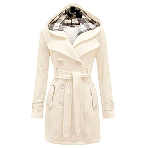Wollmantel Damen Elegant Übergangs Parka mit Gürtel Slim Warm Winddicht Langmantel Herbst Winter Jacke (Slim Gürtel Baumwolle)