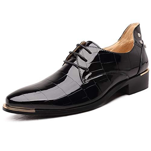 K-flame gentleman scarpa elegante da cerimonia di grandi dimensioni scarpe casual in pelle rosse scarpe da uomo a testa in pelle lucida elegante per uomo,nero,46