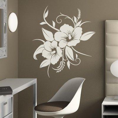"""A690 Wandtattoo """"Hibiskusblüte"""" 40cm x 33cm (erhältlich in 40 Farben und 4 Größen)"""
