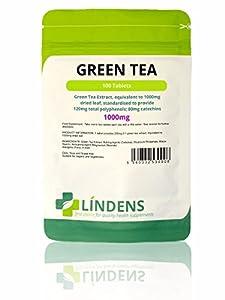 Lindens Green Tea 1000mg Tablets | 100 Pack | UK Manufacturer | Suitable for vegans and vegetarians