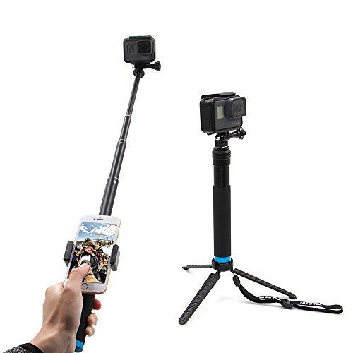 Telesin 6-in-1in lega di alluminio allungabile monopiede selfie stick con vie mini treppiede e treppiede Mount & Phone clip per Apple, Android Smartphone e fotocamera GoPro