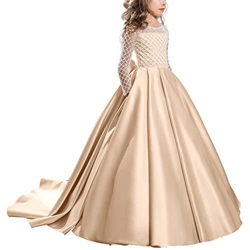 IBTOM CASTLE Blumenmädchen Kleid Hochzeit mit Appliques Mädchen Lace up Tüll Festzug Abendkleid #7 Champagner 12-13 Jahre