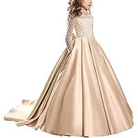 OBEEII Vestito da Ragazza Festa in Pizzo per Bambini Abiti da Sposa Vestito  Principessa Damigella Bambina 8fd8ca523e1