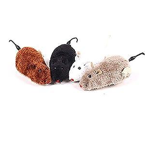 Hilai Clockwork Souris Jouet en Peluche avec Rat mécanique Mobile drôle Jouet pour Chat Pet Dog Couleur aléatoire 1pc