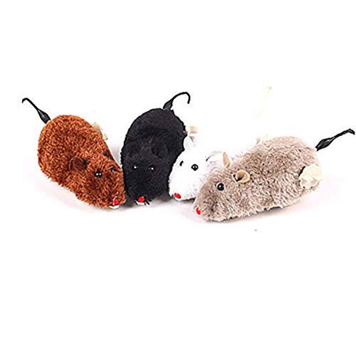 NaiCasy Uhrwerk Maus Plüschtier mit Ratten mechanisch bewegten Lustiges Spiel-Spielzeug für Hund Katze Haustier zufälliger Farbe 1PC, Klein - Haustier Ratte Kostüm