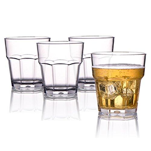 MICHLEY Plastik Unzerbrechliche Gläser, Kinder Mehrweg Stabile Plastikbecher, Tritan kunststoff trinkglasr für Wasser, Whisky, Wein, Wodka, Cocktail 250ml 4er Set