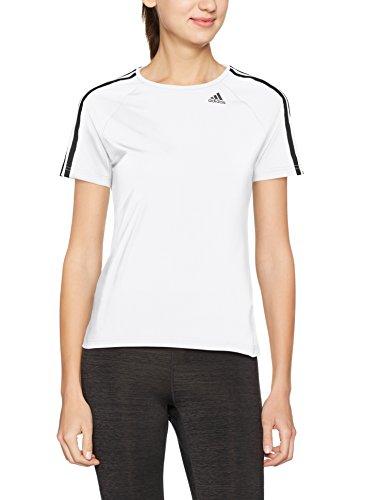 adidas Damen T-Shirt D2M 3-Stripes, White, L, BK2686 (Langarm-polo Adidas)