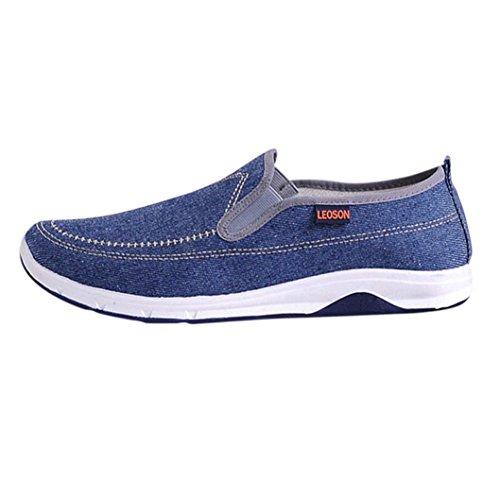ღ UOMOGO Scarpe sportive piatte da uomo, unisex, stile amante, scarpe stringate basse in denim Resistente all'abrasione 39-44