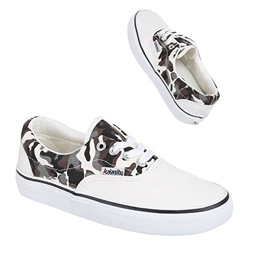 Damen Schuhe, YJ876013-1, FREIZEITSCHUHE SNEAKER SLIPPER HALBSCHUHE Weiß Multi