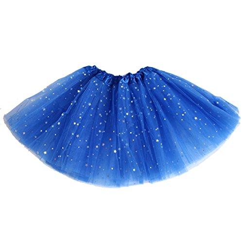 AMORETU Damen Fasching Kurzer Tutu Rock Star Pailletten Tüllrock Blau (Tutu Star Ein)