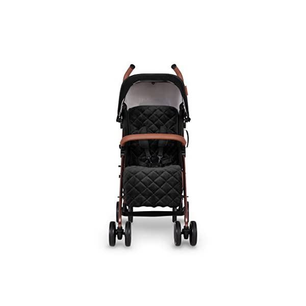 Ickle Bubba Baby Discovery Max Stroller| Lightweight Stroller Pushchair | Compact Fold Technology for Easy Transport and Storage | UPF 50+ Extendable Hood | Black/Rose Gold Ickle Bubba ONE-HANDED 3 POSITION SEAT RECLINE: Baby stroller suitable from 6 months to 22kg. 4 years old; features luxury soft quilted seat liner, footmuff, cupholder, and rain cover UPF 50+ RATED ADJUSTABLE HOOD: Includes a peekaboo window to keep an eye on the little one; extendable hood-UPF rated-to protect against the sun's harmful rays and inclement weather LIGHTWEIGHT DESIGN WITH COMPACT FOLD TECHNOLOGY: Easy to transport, aluminum frame is lightweight and portable-weighs only 7kg; folds compact for storage in small places; carry strap and leather shoulder pad included 4