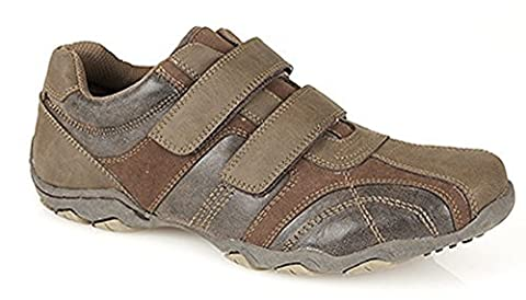 Mens Route21 Waxy Brown Suede Look Touch Fastening Casual Trainer Shoes Sizes 7 to 12 (8)