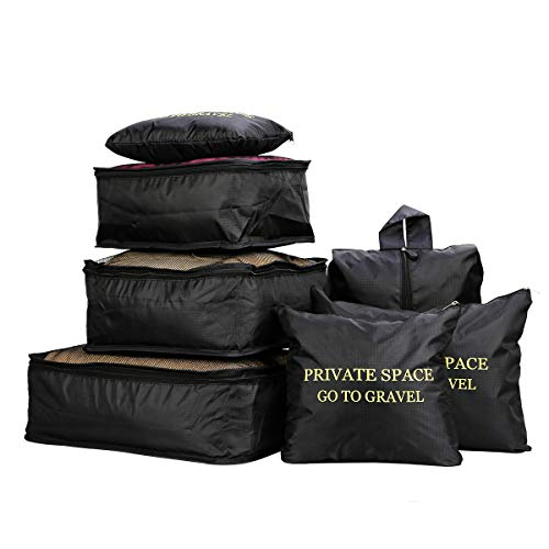 7 Stücke Wasserdichte Reise Aufbewahrungsbeutel Kleidung Verpackung Cube Gepäck Organizer Beutel (Schwarz) -