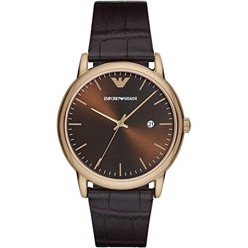 Emporio Armani AR2503 Mens Classic Dark Brown Leather Strap Watch