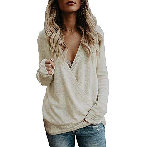 bbf146fd723149 Lazzboy Womens Sweater Sweatshirt Knitted Long Sleeve Deep V-Neck Wrap  Front Plain Pullover Jumper