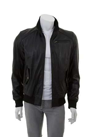 Hommes à la mode Veste en cuir - Rolando / Noir